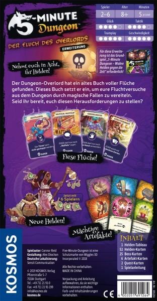 Schachtel Rückseite- 5-Minute Dungeon: Der Fluch des Overlords