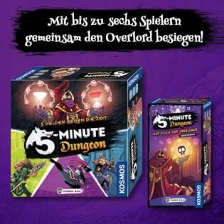Spielschachteln Grundspiel und Erweiterung- 5-Minute Dungeon: Der Fluch des Overlords