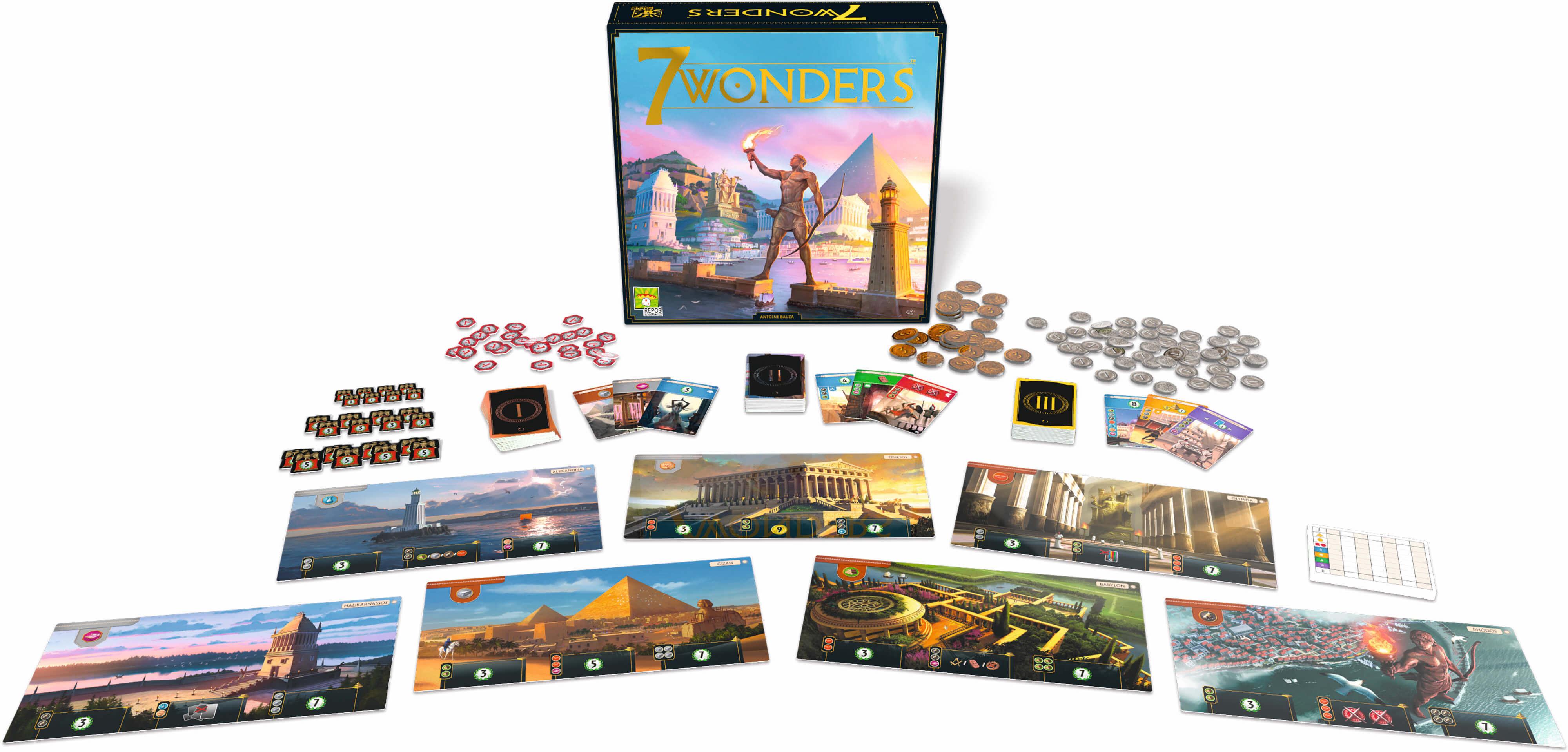 Spielmaterial und Schachtel- 7 Wonders