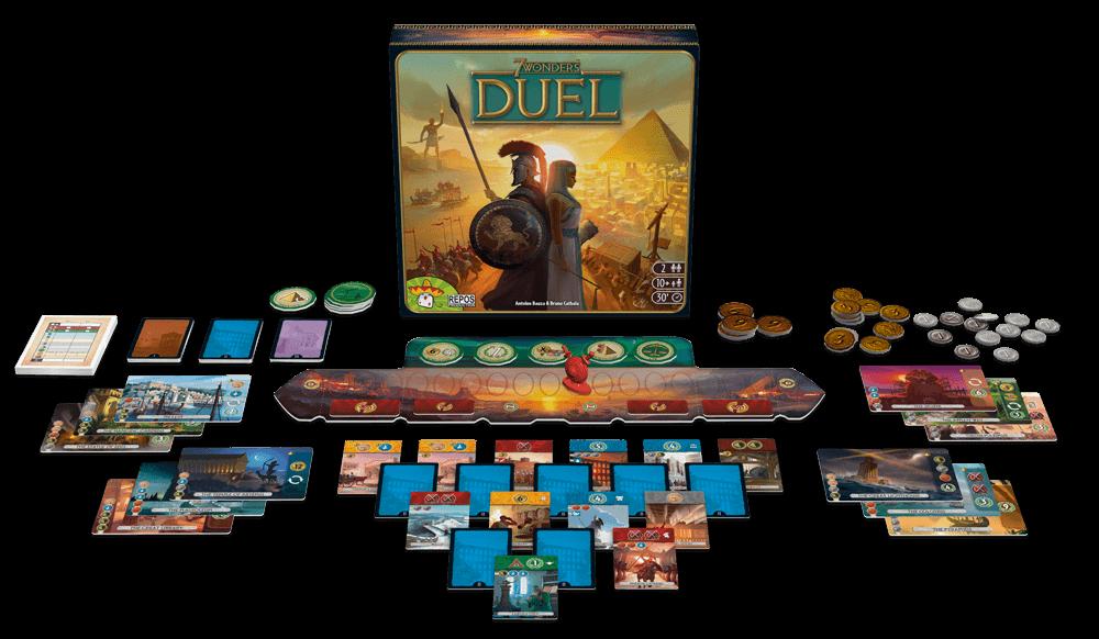Schönes Spielmaterial mit Schachtel - Spiel zu zweit- 7 Wonders - Duel