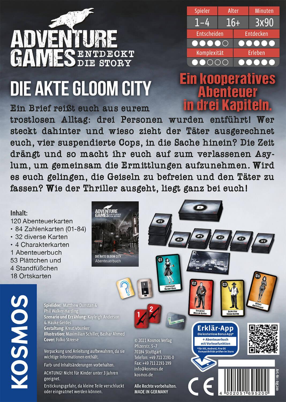 Schachtel Rückseite- Adventure Games - Die Akte Gloom City
