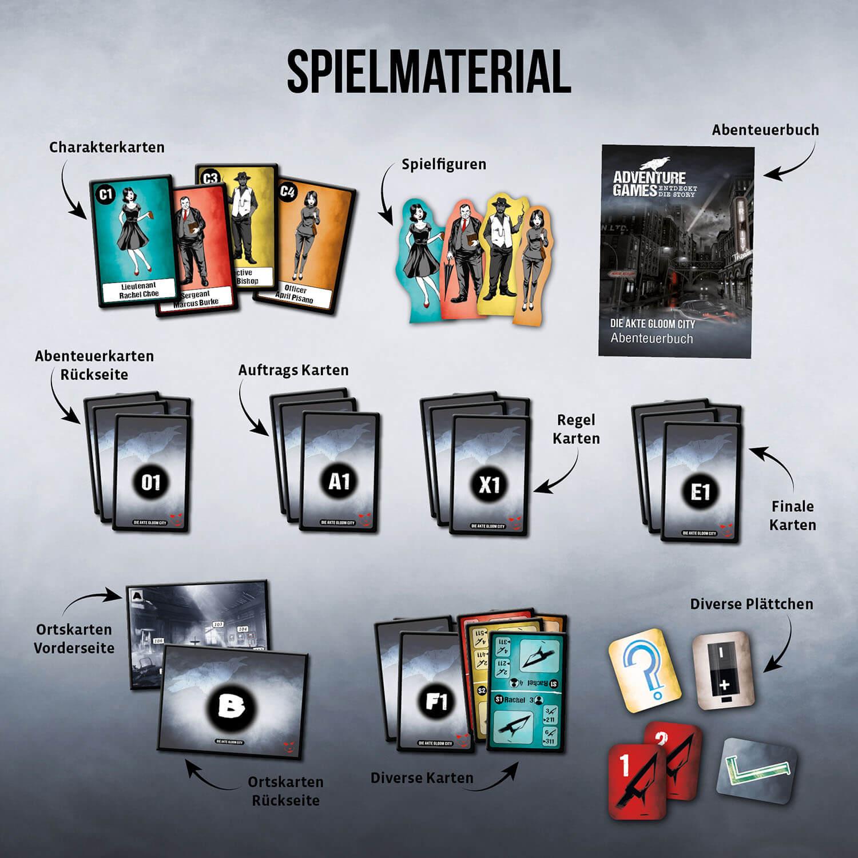 Spielmaterial- Adventure Games - Die Akte Gloom City
