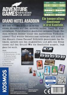 Schachtel Rückseite- Adventure Games - Grand Hotel Abaddon