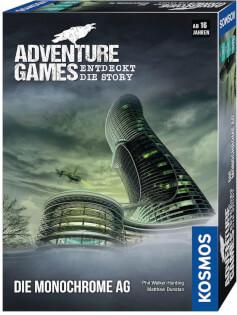 Schachtel Vorderseite, rechte Seite- Adventure Games - Die Monochrome AG