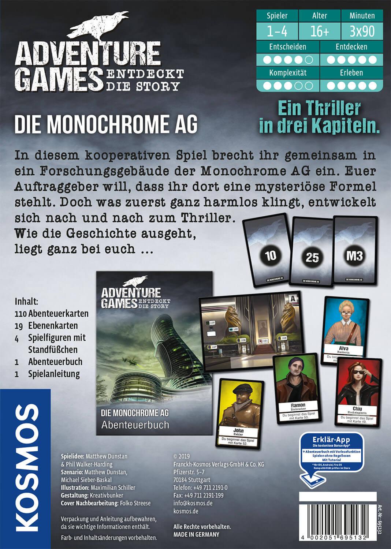 Schachtel Rückseite- Adventure Games - Die Monochrome AG
