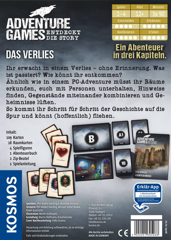 Schachtel Rückseite- Adventure Games - Das Verlies