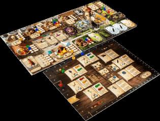 Spielbrett mit Spielfiguren- Die Alchemisten