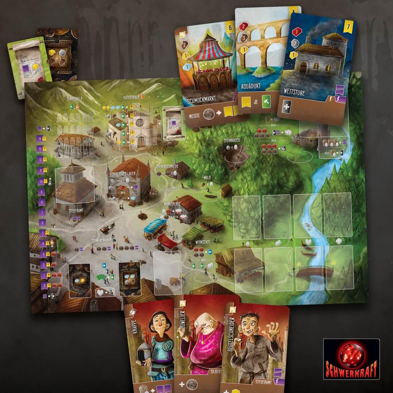Spielmaterial - Spielplan mit Karten- Architekten des Westfrankenreichs