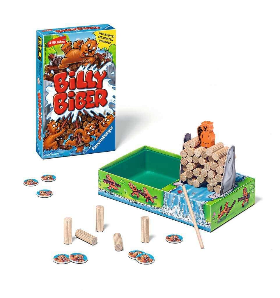 Spielmaterial und Schachtel- Billy Biber – Mitbringspiel