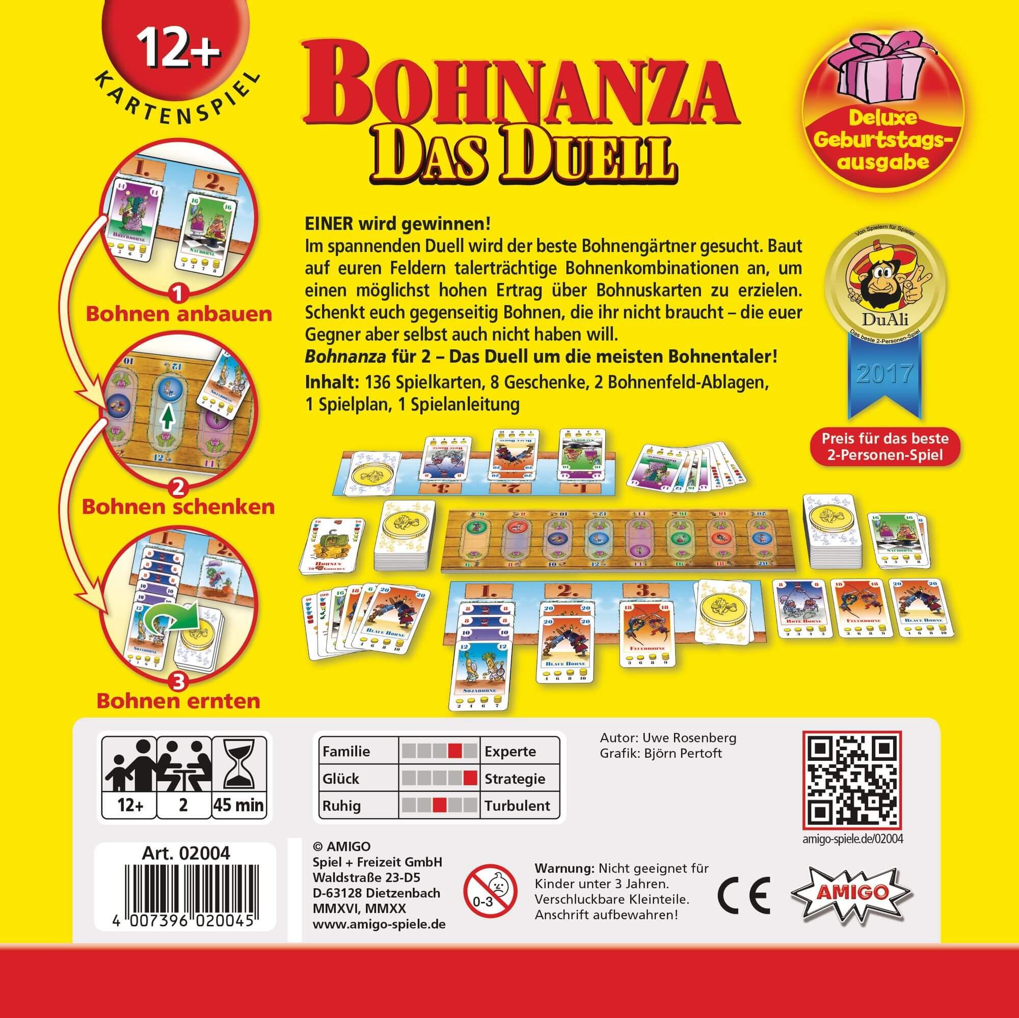 Schachtel Rückseite- Bohnanza - Das Duell Deluxe