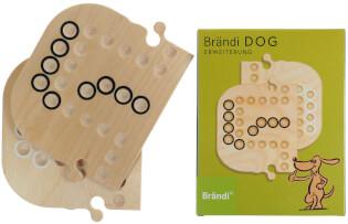 Schachtel Vorderseite und Spielbrett- Brändi Dog-Erweiterung für 6 Spieler