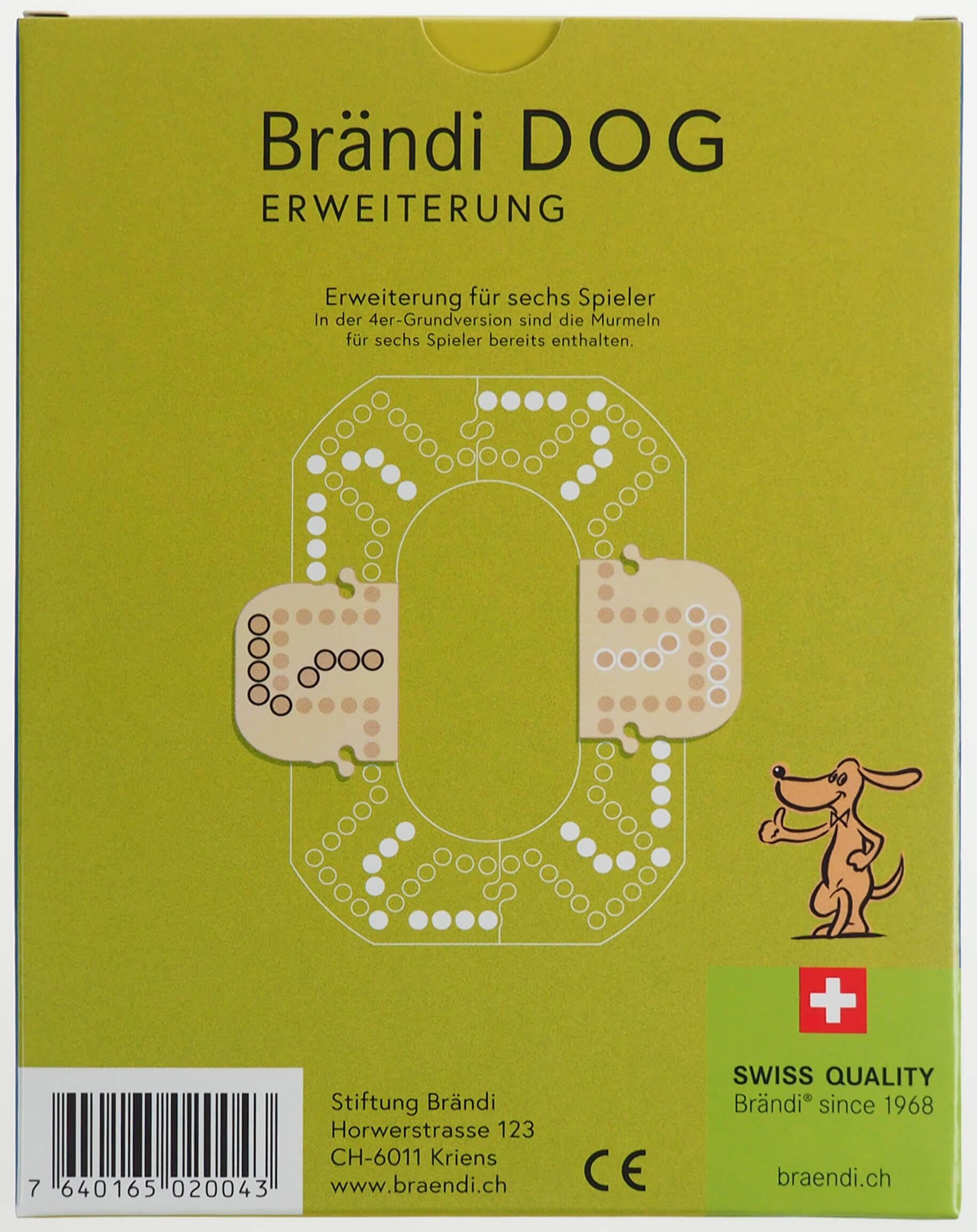 Schachtel Rückseite- Brändi Dog-Erweiterung für 6 Spieler