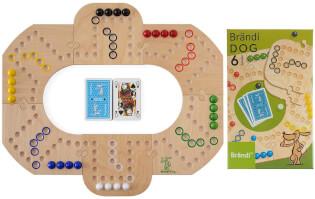 Spielbrett mit Karten und Spielschachtel - Brändi Dog für 6 Spieler- Brändi Dog for 6 Players