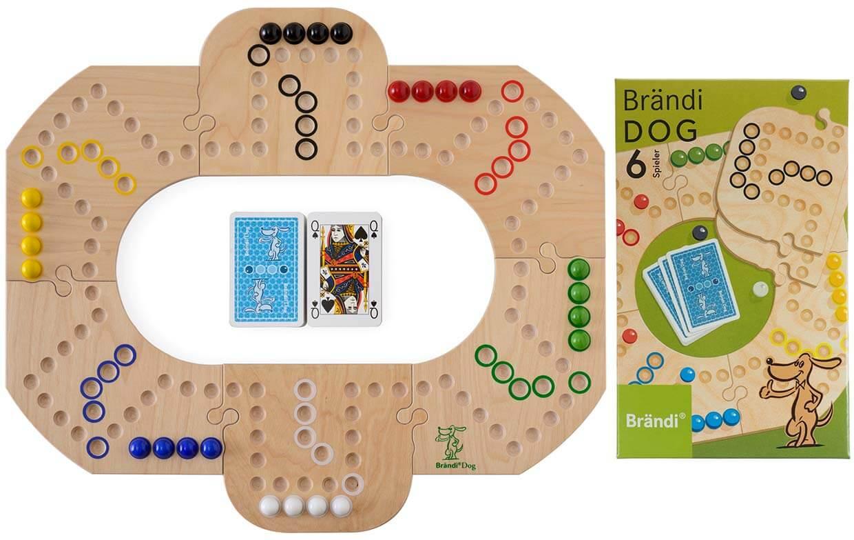 Spielbrett mit Karten und Spielschachtel - Brändi Dog für 6 Spieler- Brändi Dog per 6 giocatori