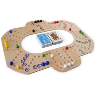 Spielbrett mit Karten - Brändi Dog für 6 Spieler- Brändi Dog for 6 Players