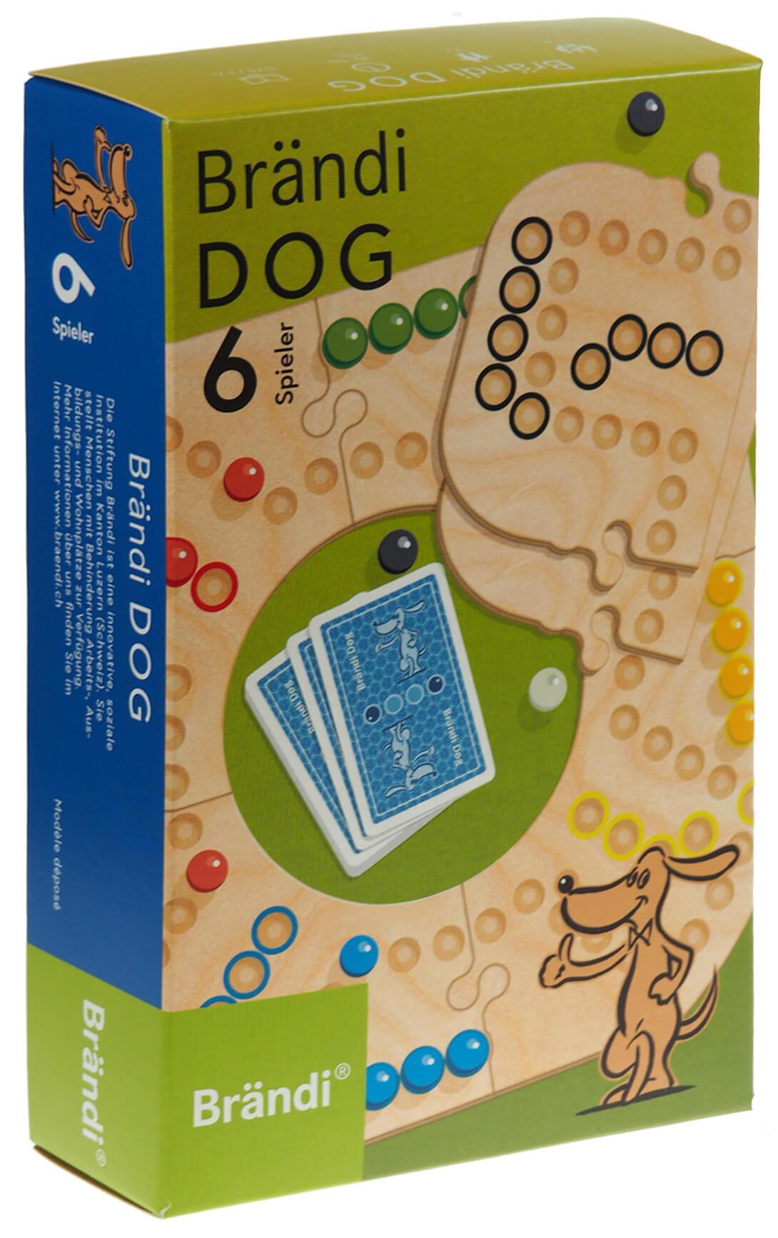 Schachtel Vorderseite - Brändi Dog für 6 Spieler- Brändi Dog per 6 giocatori