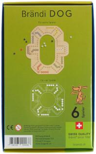 Schachtel Rückseite - Brändi Dog für 6 Spieler- Brändi Dog for 6 Players