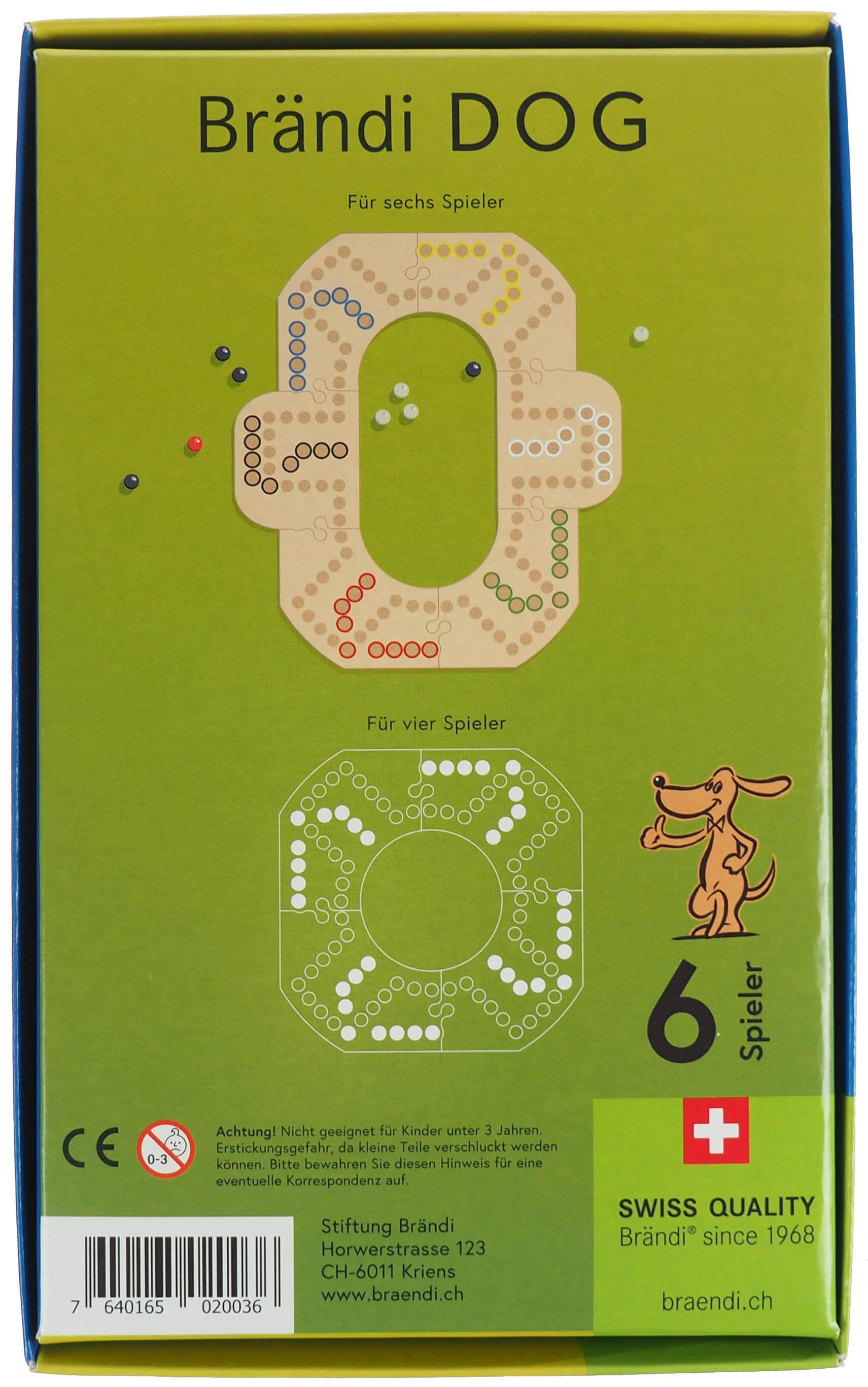 Schachtel Rückseite - Brändi Dog für 6 Spieler- Brändi Dog per 6 giocatori