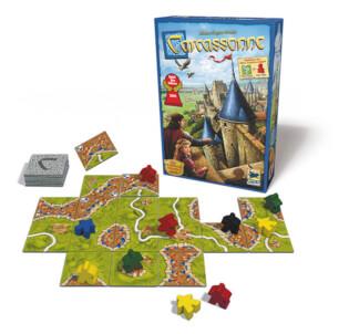 Schachtel und Spielmaterial  - Spiel des Jahres 2001- Carcassonne - Neue Edition