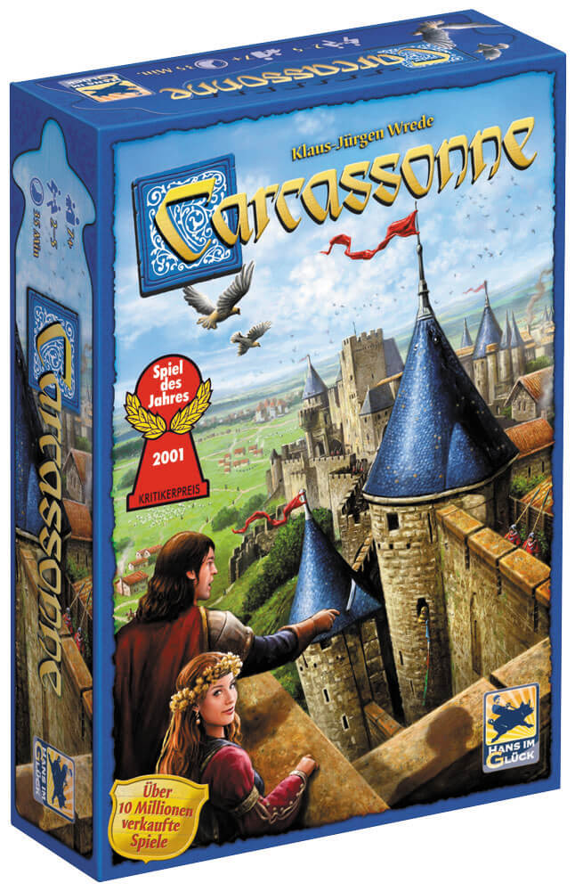Schachtel Vorderseite - Spiel des Jahres 2001- Carcassonne - Neue Edition