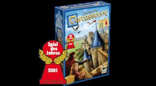Vorderseite Schachtel mit Spiel des Jahres 2001-Logo - Spiel des Jahres 2001- Carcassonne - Neue Edition