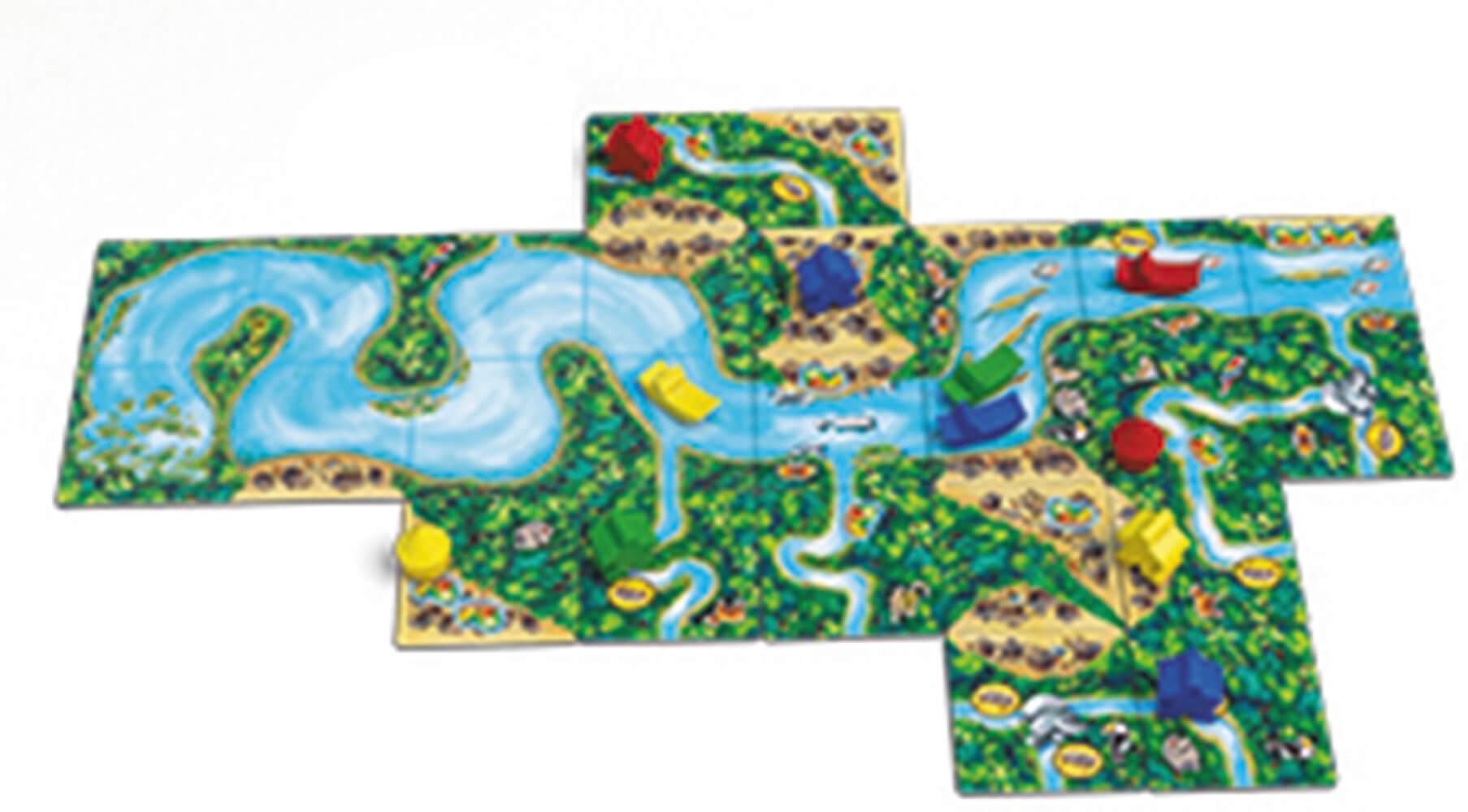Spielmaterial - Spielplan mit Holzfiguren- Carcassonne - Amazonas