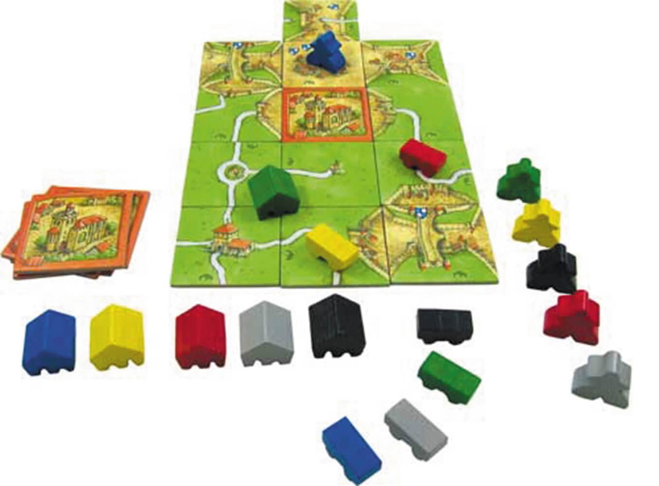 Spielmaterial - Spielbrett mit Holzfiguren- Carcassonne - Abtei und Bürgermeister