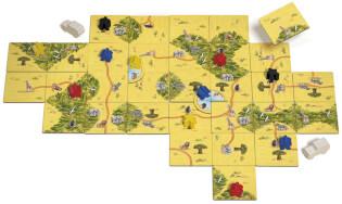 Spielmaterial mit Kartenteilen- Carcassonne - Safari