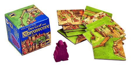 Spielmaterial - Spielschachtel mit Holzfigur und Plättchen- Carcassonne - Der Graf von Carcassonne
