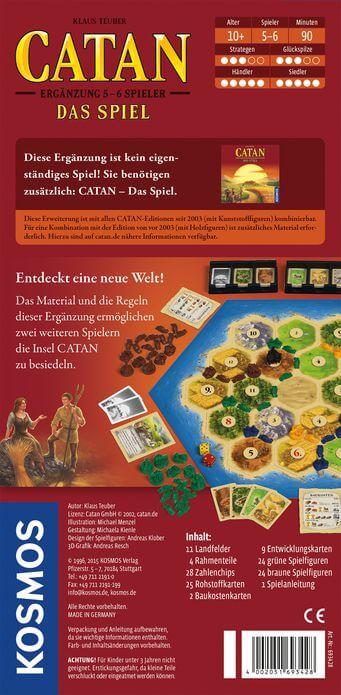 Schachtel Rückseite- Catan - Ergänzung 5-6 Spieler