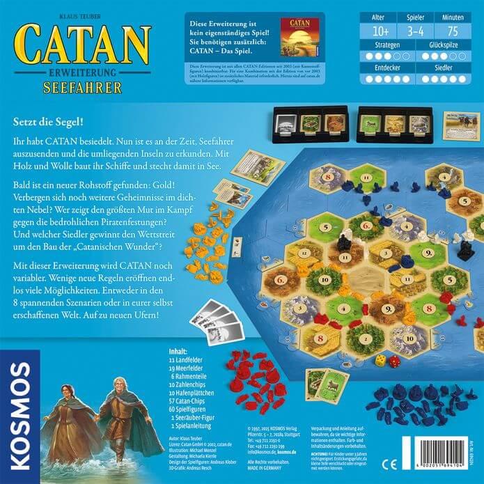 Schachtel Rückseite- Catan: Seefahrer 3-4 Spieler