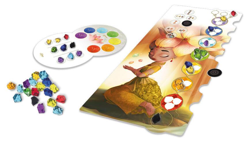 Spielmaterial - Tableau und Spielsteine- Chakra