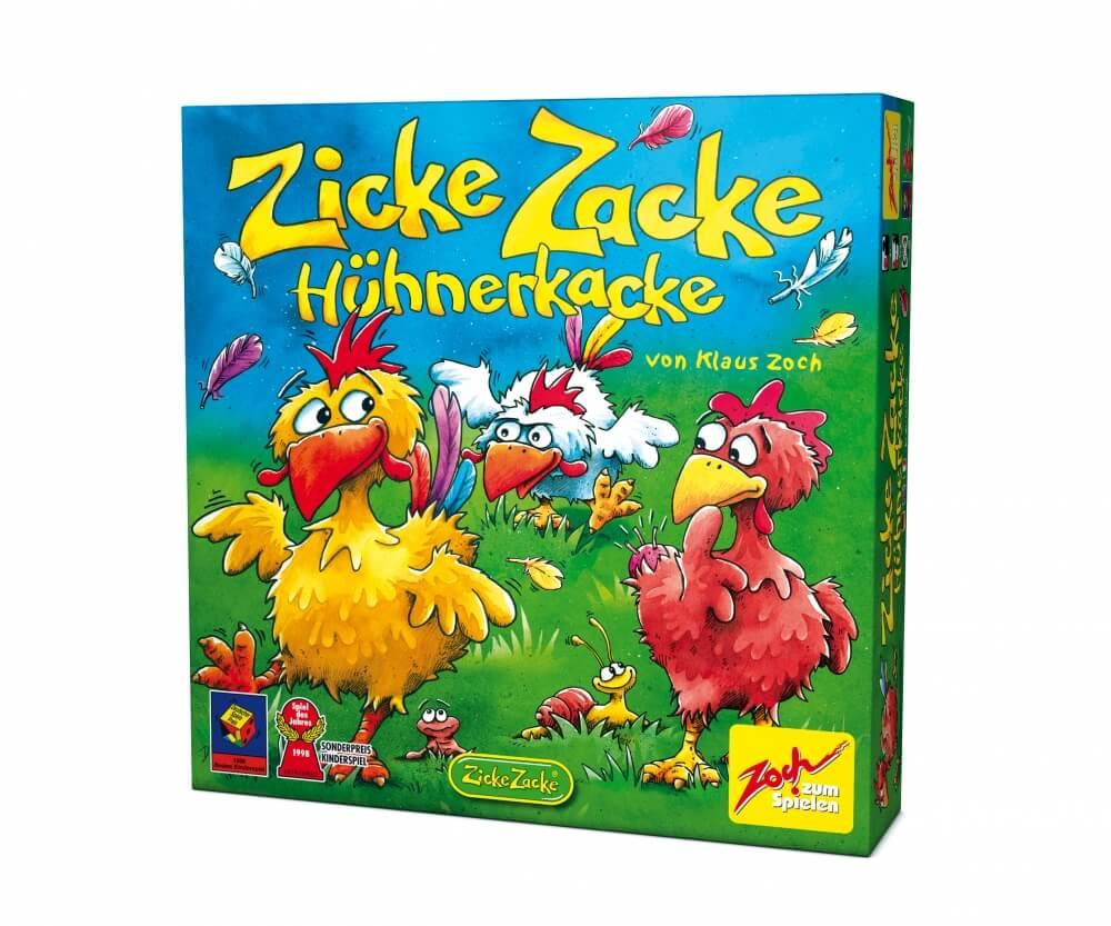 Schachtel Vorderseite - Kinderspiel des Jahres 1998- Zicke Zacke Hühnerkacke