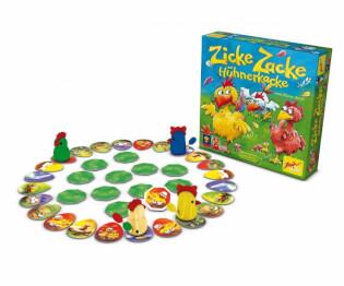 Spielmaterial und Spielschachtel - Kinderspiel des Jahres 1998- Zicke Zacke Hühnerkacke