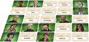 Spielplan mit Namenskarten und Geheimagentenabdecker- Codenames Duett