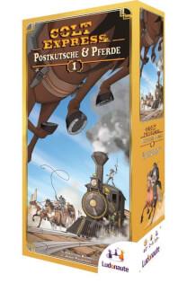 Schachtel Vorderseite- Colt Express - Postkutsche und Pferde