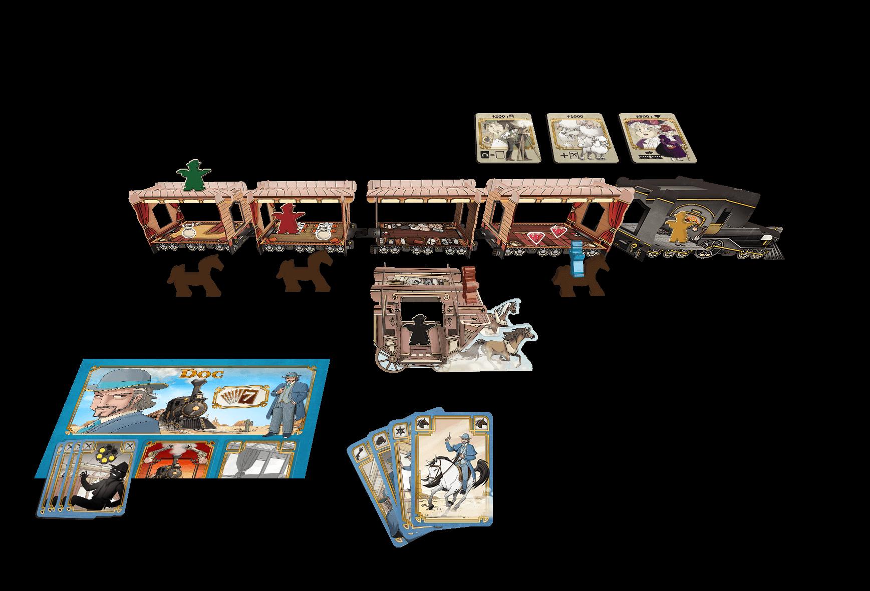 Spielmaterial - Zug mit Pferdekarten und Holzfiguren- Colt Express - Postkutsche und Pferde