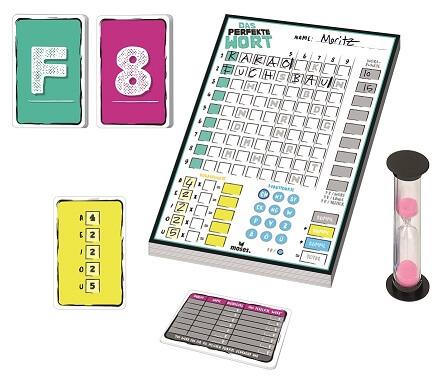 Spielmaterial - Block, Karten und Sanduhr- Das perfekte Wort