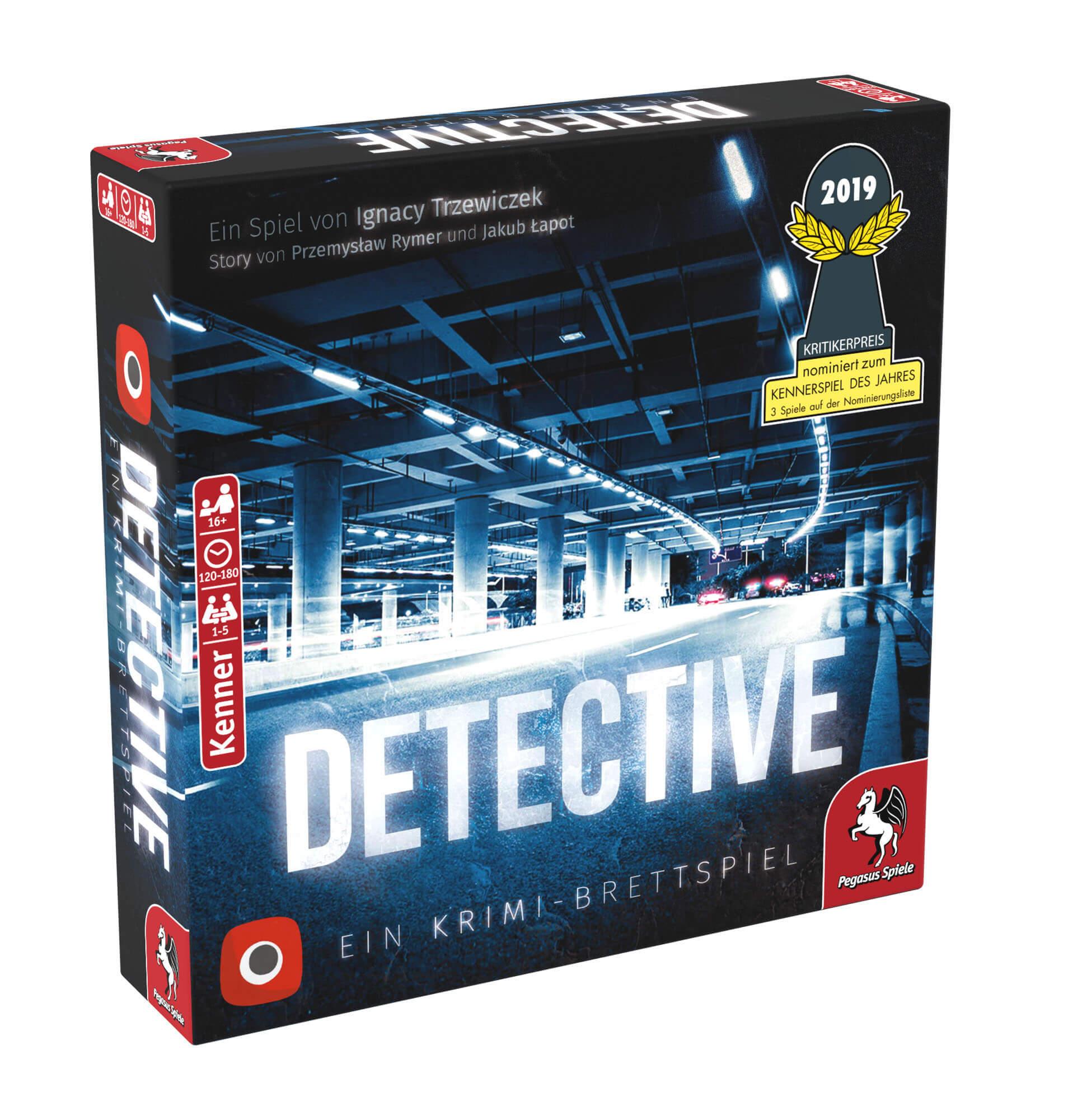 Schachtel Vorderseite rechts- Detective – Ein Krimi-Brettspiel