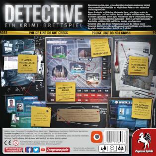 Schachtel Rückseite- Detective – Ein Krimi-Brettspiel