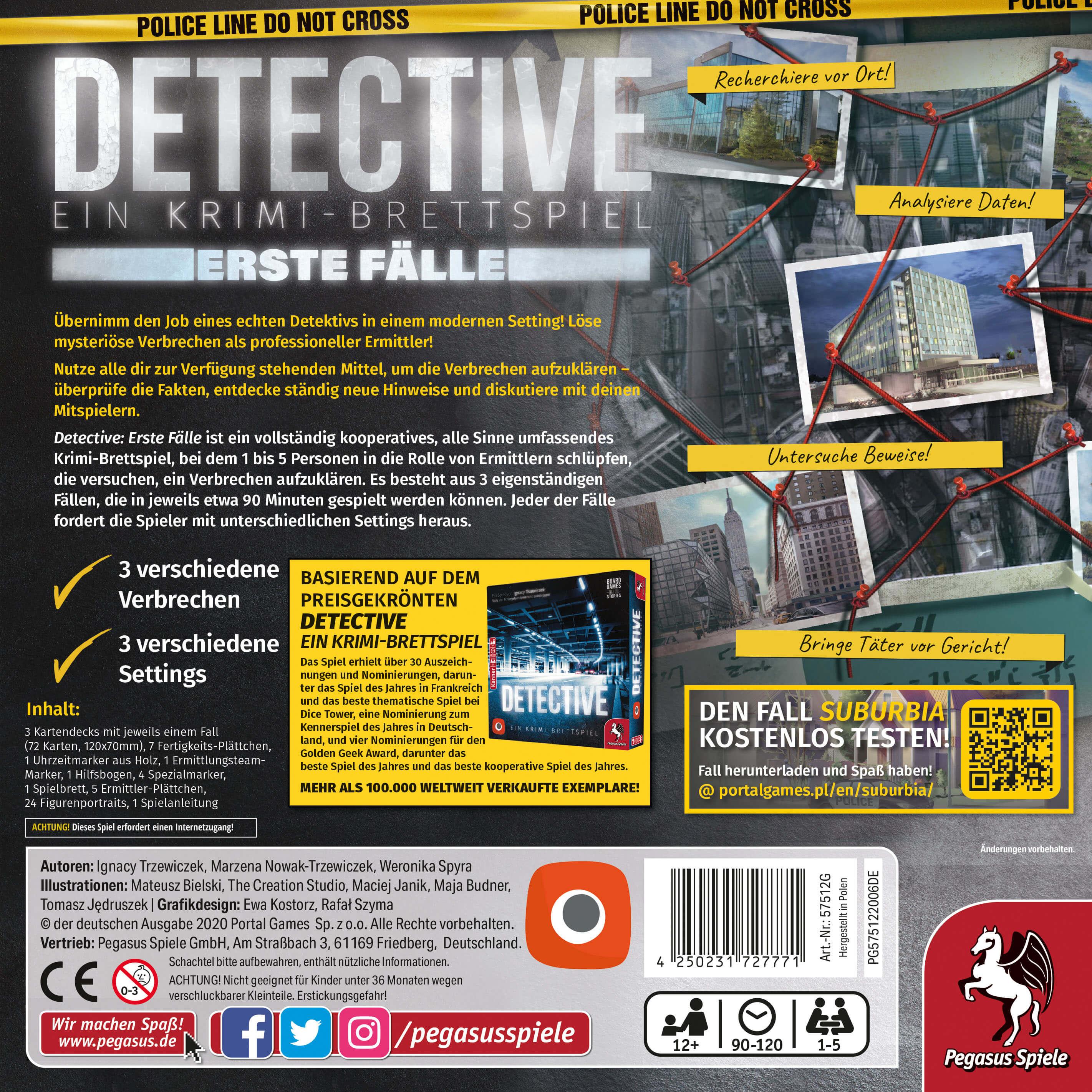 Schachtel Rückseite- Detective – Erste Fälle