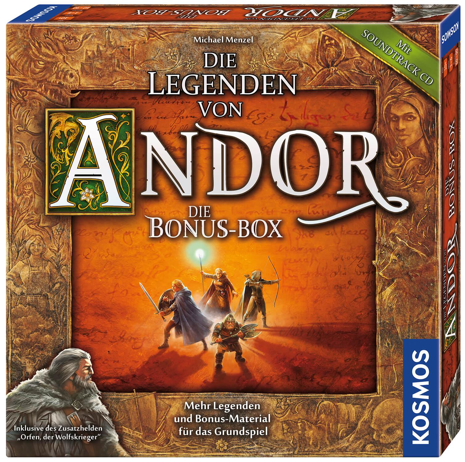 Schachtel Vorderseite, rechte Seite- Die Legenden von Andor – Die Bonus-Box