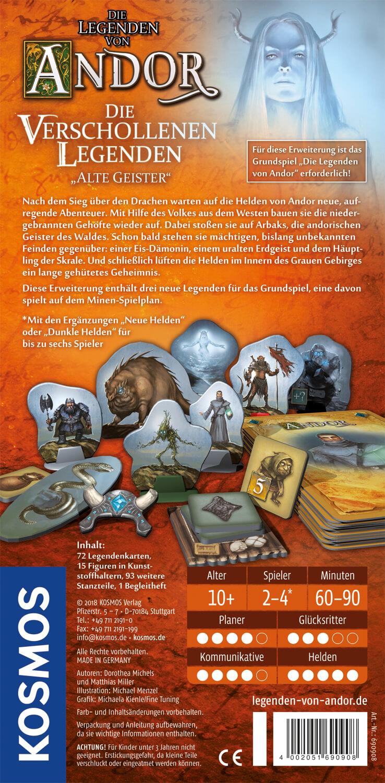 Schachtel Rückseite- Die Legenden von Andor - Die verschollenen Legenden