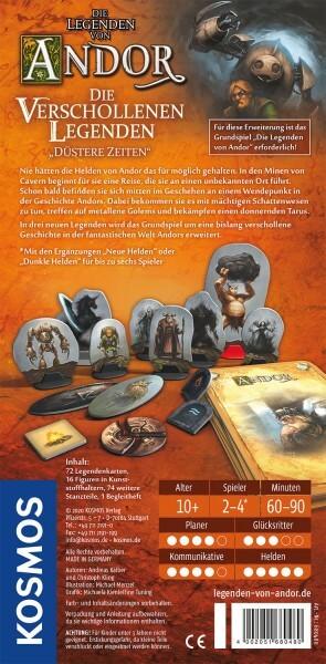 Schachtel Rückseite- Die Legenden von Andor – Verschollene Legenden: Düstere Zeiten