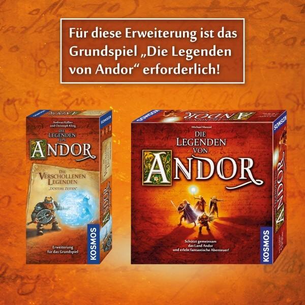 Schachteln Grundspiel und Erweiterung- Die Legenden von Andor – Verschollene Legenden: Düstere Zeiten