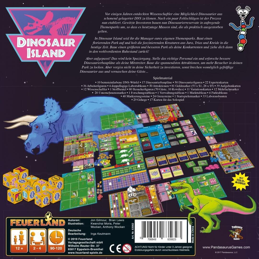 Schachtel Rückseite- Dinosaur Island
