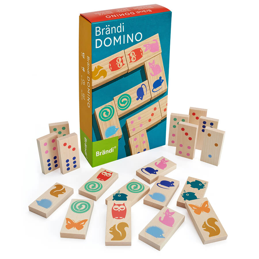Schachtel Vorderseite und farbige Spielsteine- Brändi Domino