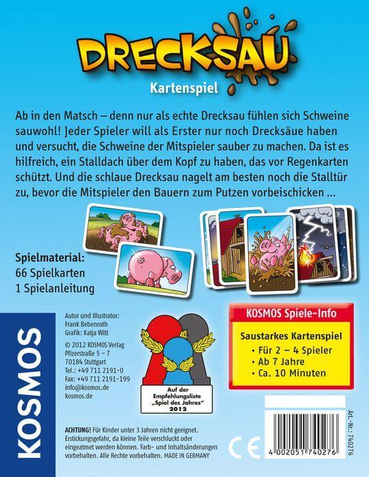 Schachtel Rückseite - nominiert zum Spiel des Jahres 2012- Drecksau