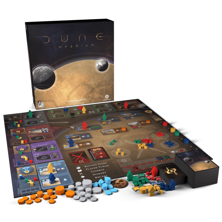 Spielschachtel und Spielmaterial- Dune Imperium
