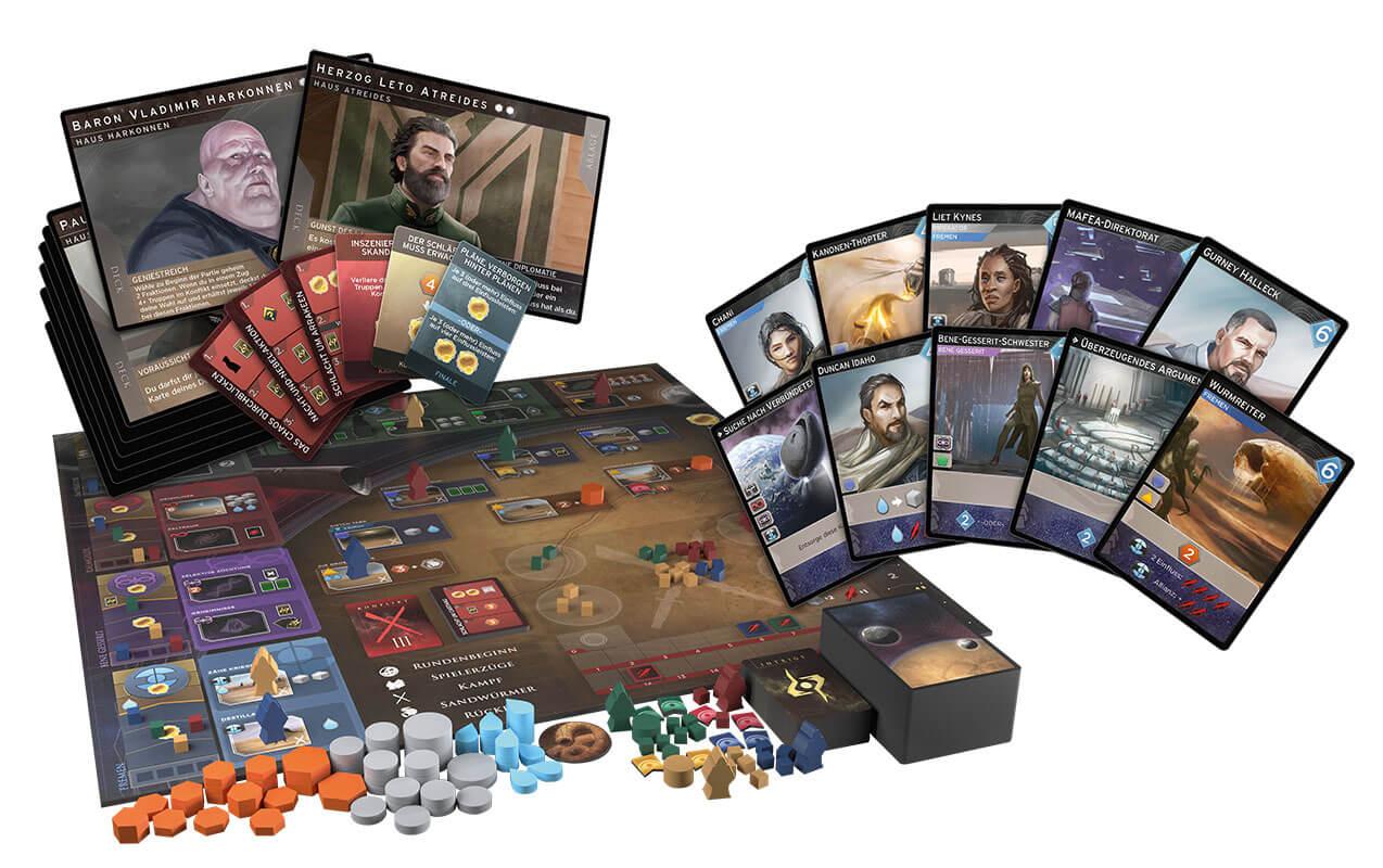 Spielmaterial und Spielkarten- Dune Imperium